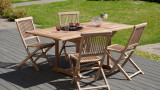 Table de jardin 4/6 personnes - rectangulaire extensible 120/180 x 90 cm en bois Teck - Collection Fun