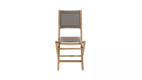 Ensemble de 2 chaises de jardin pliantes en bois teck et textilène couleur taupe - Collection Fun