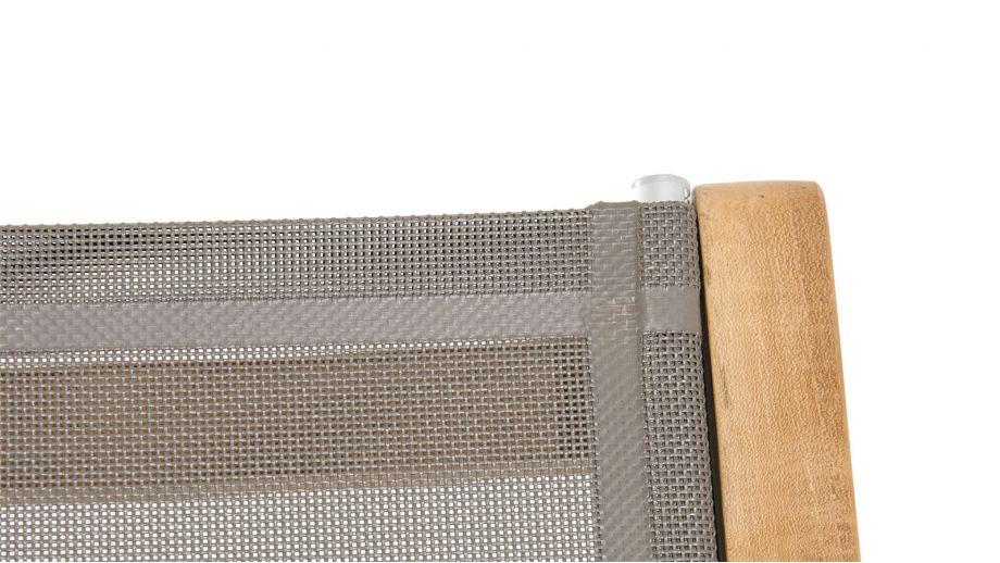Lot de 2 chaises pliantes en teck et tissu taupe – Collection Fun