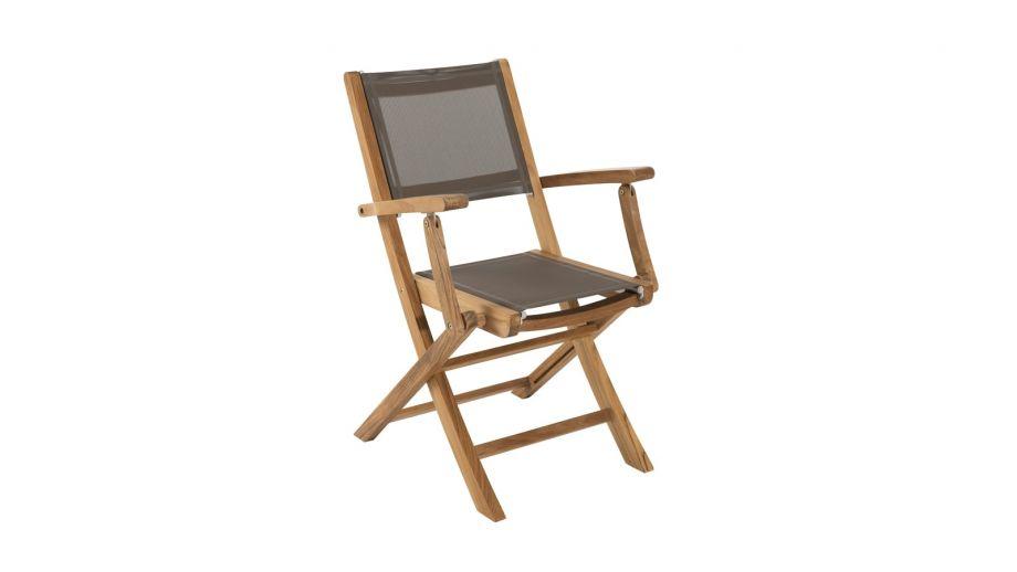 Lot de 2 fauteuils pliants en teck et tissu taupe – Collection Fun