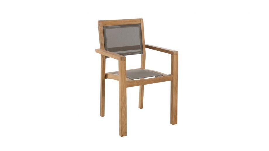 Lot de 2 fauteuils empilables en teck et tissu taupe – Collection Fun