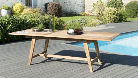 Table de jardin rectangulaire scandi extensible en teck 180/240x100cm –  Collection Fun