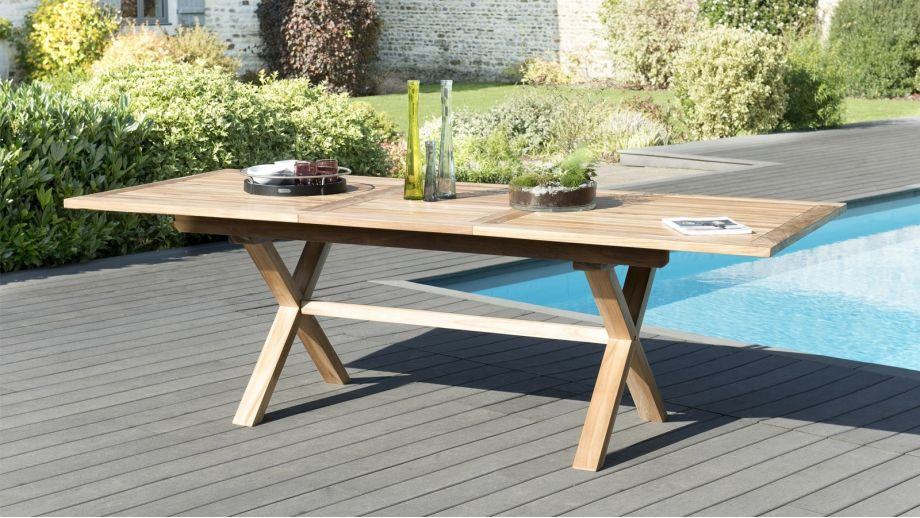 Table rectangulaire extensible pieds croisés – 180/240x100cm – Collection Fun