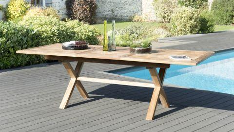 Table de jardin 8/10 personnes - rectangulaire pieds croisés extensible 180/240x100 cm en bois teck - Collection Fun