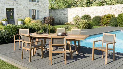 Salon de jardin en teck et textilène 6 places - Collection Praslin