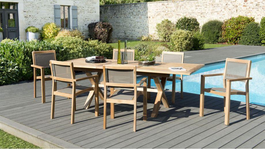 Salon de jardin en teck et textilène 6 places - Collection Pemba