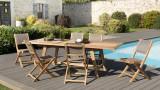 Salon de jardin en teck et textilène 6 places - Collection Wave