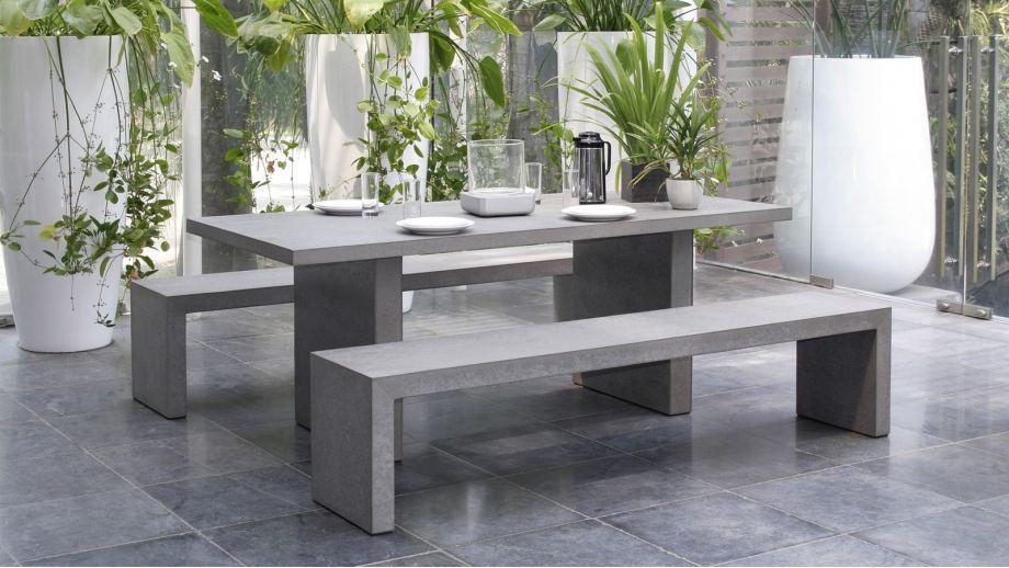 Salon de jardin en fibre de ciment 4 à 6 places - Collection Hector