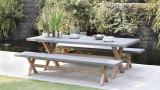 Salon de jardin en acacia et fibre de ciment 4 à 6 personnes - Collection Chill