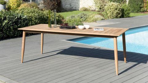 Table à manger scandinave en teck 220x100cm – Collection Kim