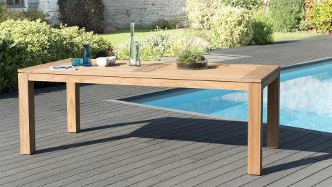 Table de jardin 6/8 personnes - Denver 220 x 100 cm en bois teck - Collection Cali
