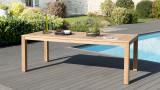 Table de jardin 6/8 personnes - Vieste 220 x 100 cm en bois teck - Collection Cali