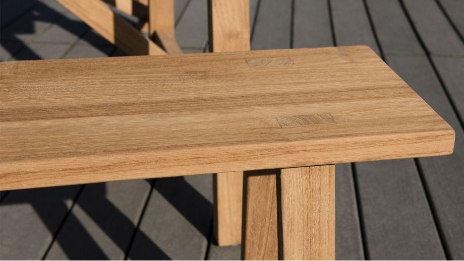 Salon de jardin en teck et métal 1 table et 2 bancs - Collection Lanzarote