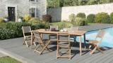 Salon de jardin en teck et métal 1 table et 2 bancs - Collection ...