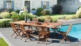 Table de jardin rectangulaire extensible en teck 200/300x120cm – Collection Maelle