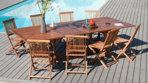 Table rectangulaire extensible en teck 200/300x120cm – Collection Maeva