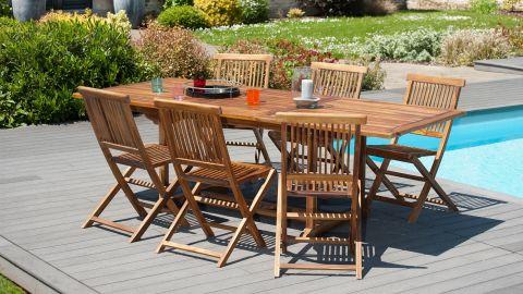Table rectangulaire extensible en teck 120/180x90cm – Collection Maeva