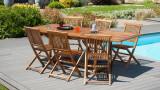 Table rectangulaire de jardin extensible en teck 120/180x90cm – Collection Maelle