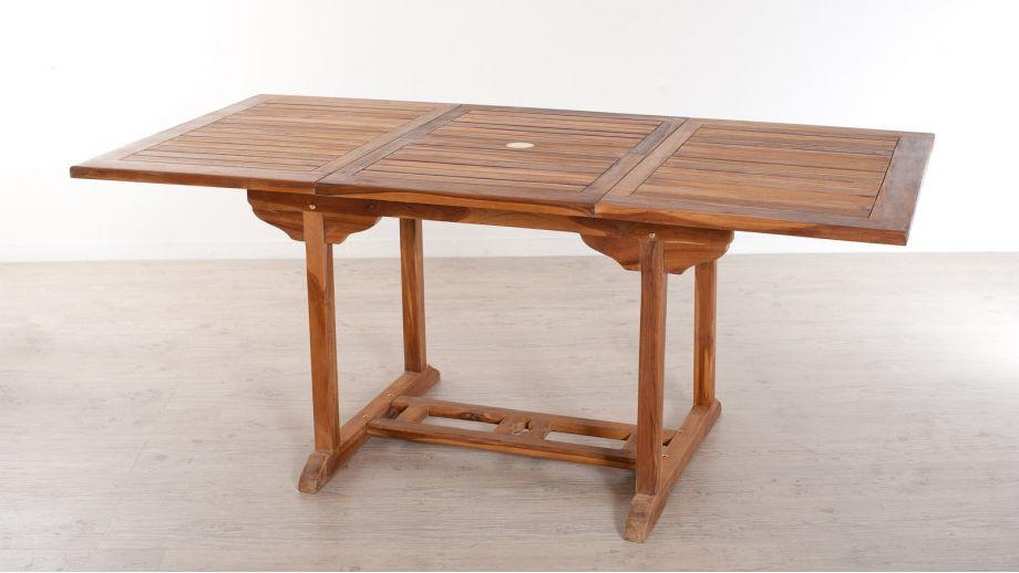 table rectangulaire extensible en teck 120 180x90cm collection maeva homifab. Black Bedroom Furniture Sets. Home Design Ideas
