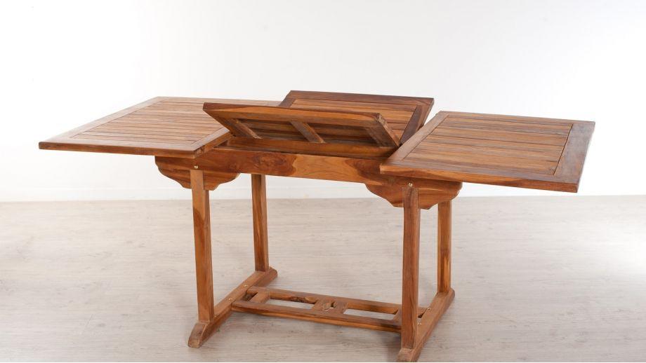 table rectangulaire extensible en teck 120 180x90cm. Black Bedroom Furniture Sets. Home Design Ideas
