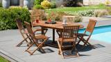 Salon de jardin en bois tech huilé 4/6 personnes - Collection Komodo