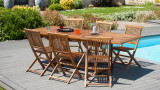Salon de jardin en bois tech huilé 8/10 personnes - Collection Maya Bay