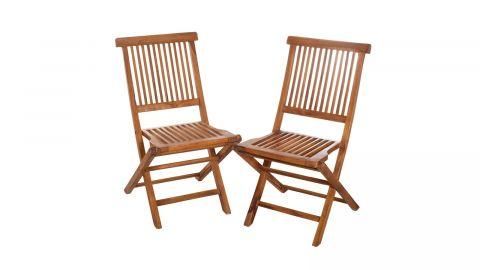Ensemble de 2 chaises de jardin en bois teck huilé - Collection Maelle