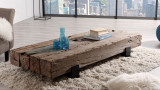 Table basse traverse en bois massif - Collection Diego