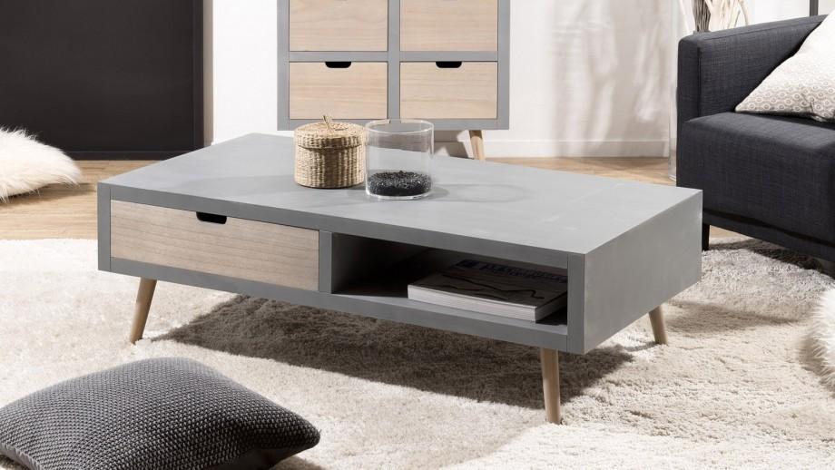 Table basse 1 niche 2 tiroirs - Collection Lorenzo