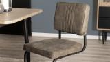 Lot de 2 chaises en tissu taupe piètement en métal - Collection Emy