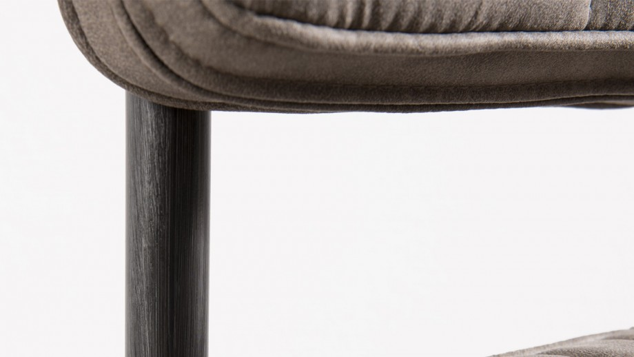 Lot de 2 chaises en tissu taupe piètement en métal - Collection Fanny