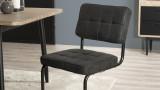 Lot de 2 chaises en tissu gris anthracite piètement en métal - Collection Emy