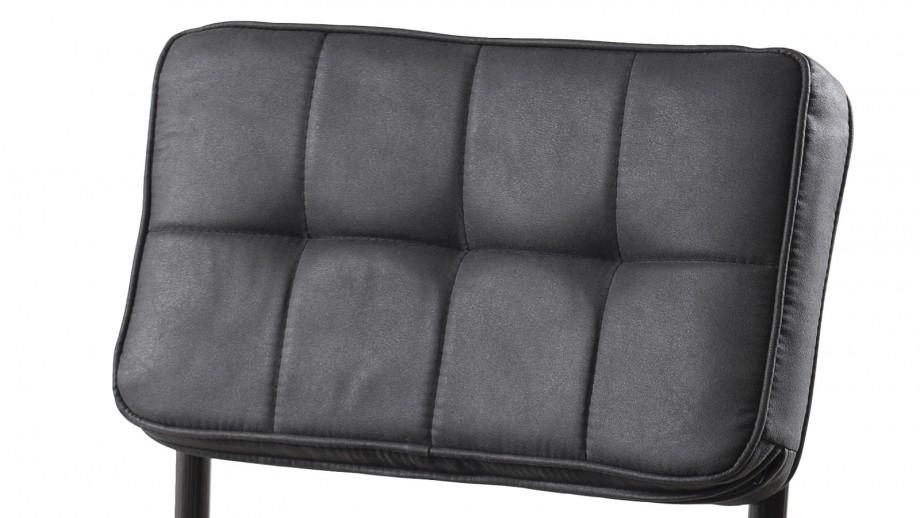 Lot de 2 chaises en tissu gris anthracite piètement en métal - Collection Fanny