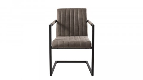 Lot de 2 fauteuils en tissu taupe piètement en métal - Collection Emy