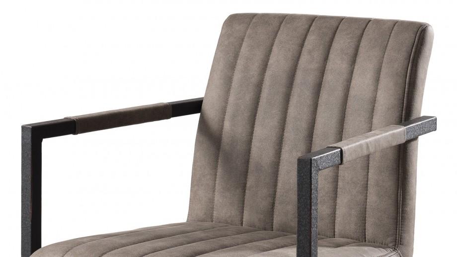 Lot de 2 fauteuils en tissu taupe piètement en métal - Collection Fanny