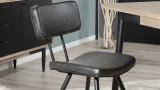 Lot de 2 chaises James en simili cuir noir - Collection Paul