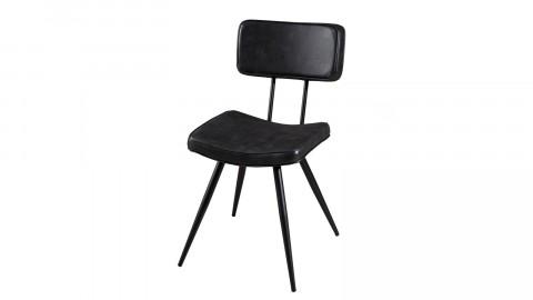 Lot de 2 chaises James en simili cuir noir - Collection Tom