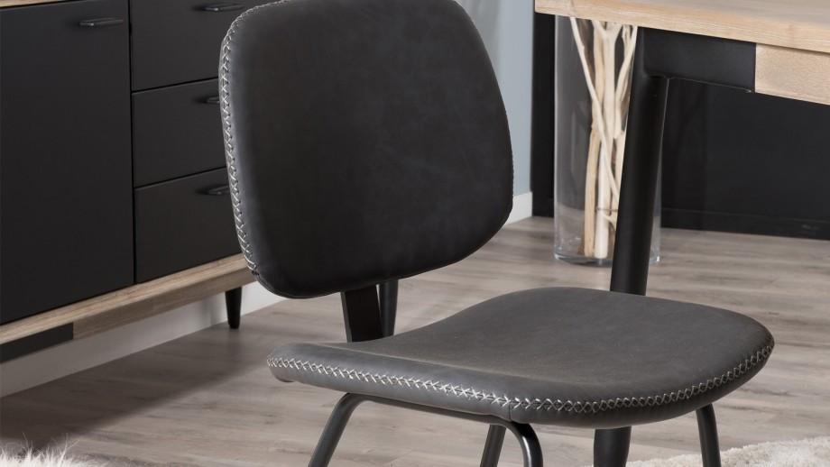 Lot de 2 chaises Jimmy en simili cuir noir - Collection Tom