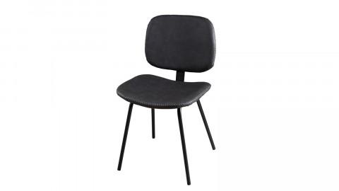 Lot de 2 chaises Jimmy en simili cuir noir - Collection Paul