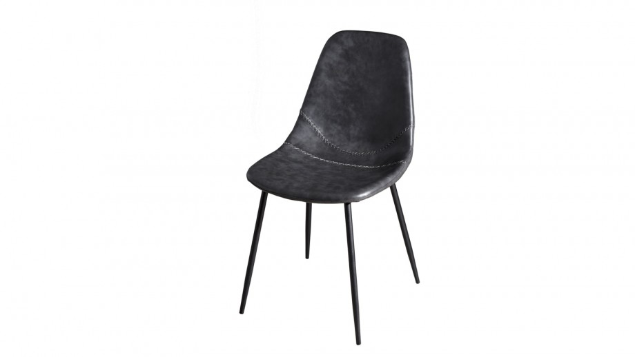 Lot de 2 chaises John en simili cuir noir - Collection Tom