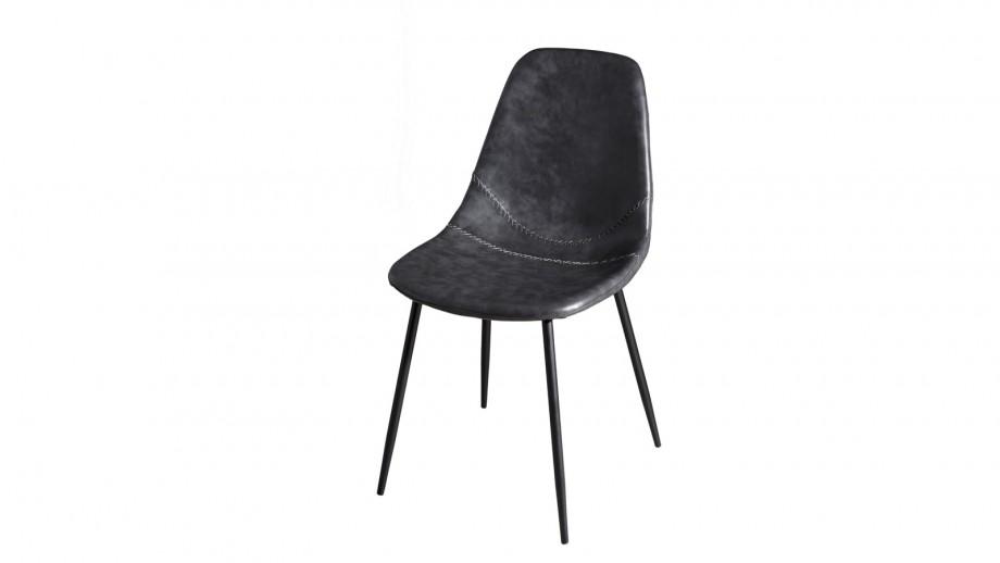 Lot de 2 chaises John en simili cuir noir - Collection Tom