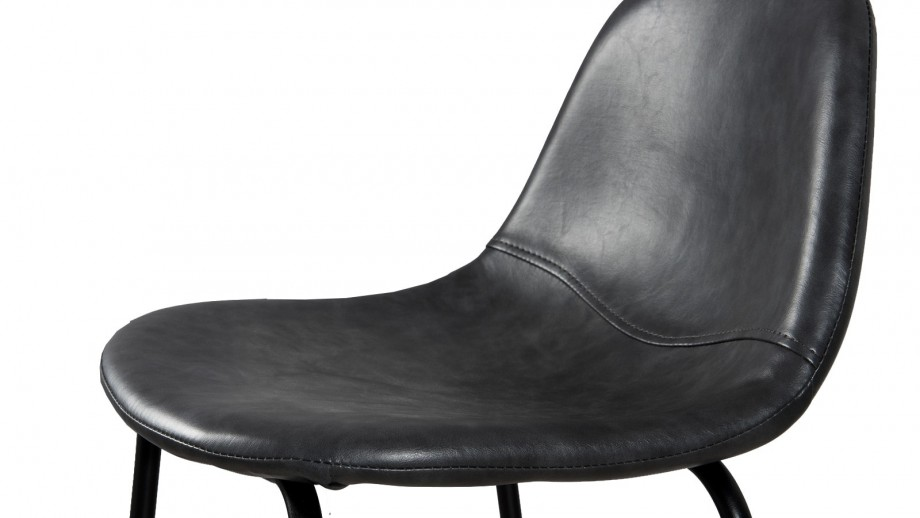 Lot de 2 chaises de bar John en simili cuir noir - Collection Tom