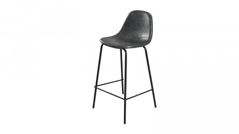 Lot de 2 chaises de bar John en simili cuir noir - Collection Paul