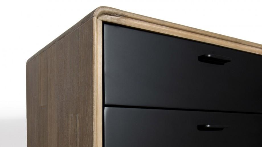 Chevet 2 tiroirs en acacia et métal - Collection Paloma