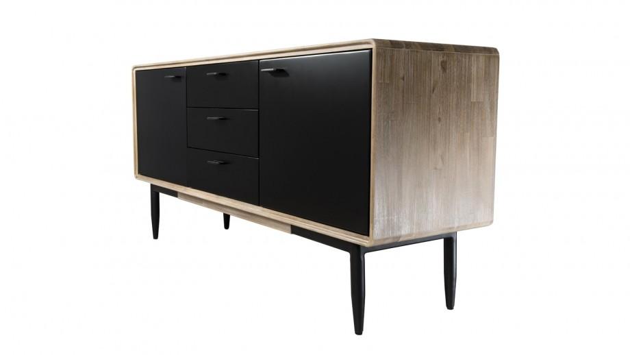 Buffet 3 tiroirs et 2 portes en acacia piètement en métal - Collection Paloma