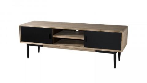 Meuble TV 2 portes coulissantes 2 niches en acacia et métal - Collection Ella
