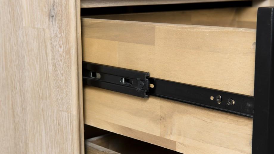 Bibliothèque 2 portes vitrées 4 tiroirs en acacia et métal - Collection Paloma