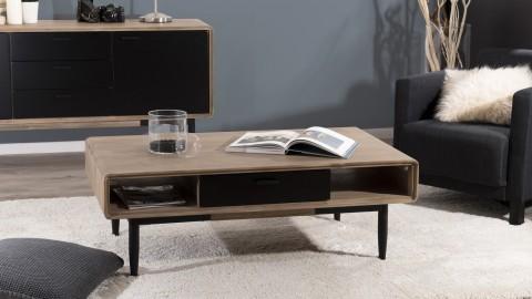 Table basse 2 tiroirs et 2 niches en acacia et métal - Collection Paloma