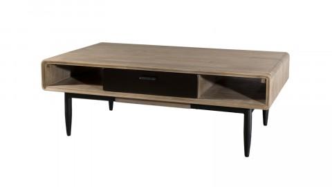Table basse 2 tiroirs et 2 niches en acacia et métal - Collection Ella