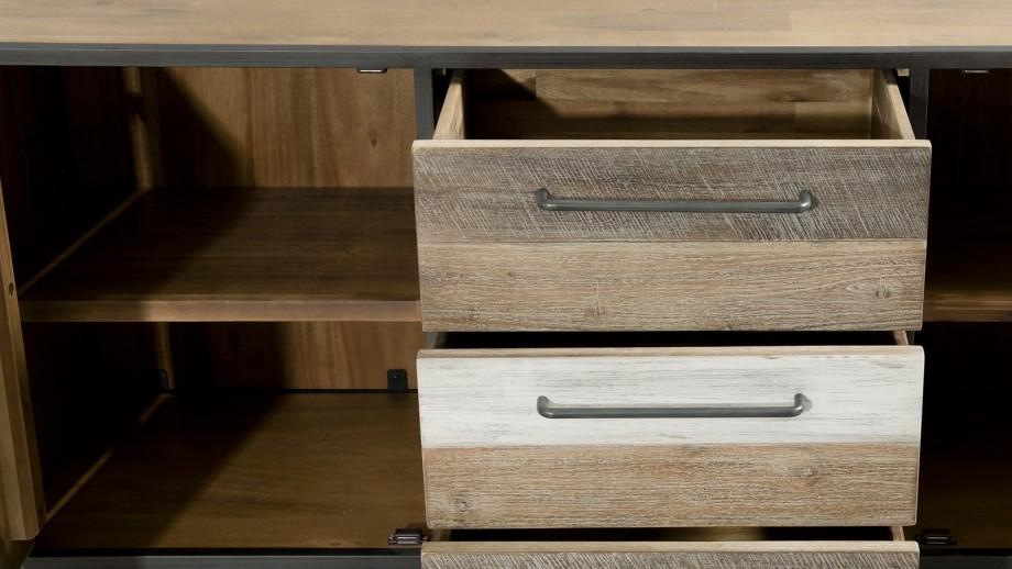 Buffet 2 portes 3 tiroirs en acacia et métal - Collection Mateo